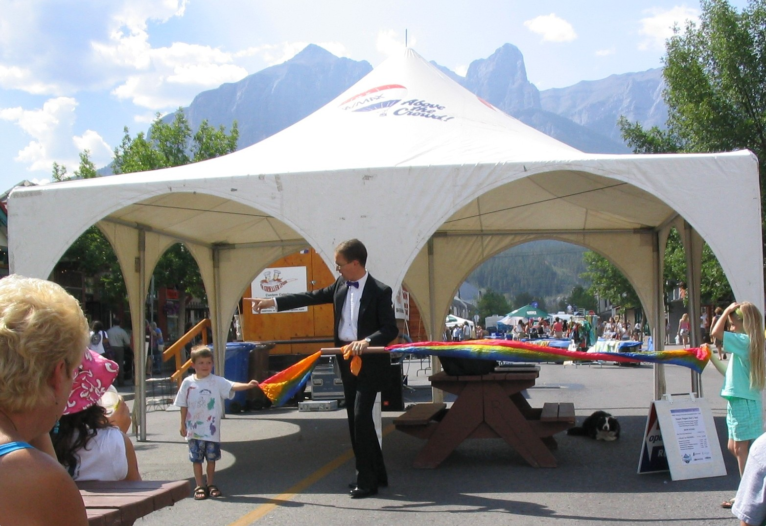 Richard Young the Magician at the Street Fair in Canmore, Alberta, Canada which is just outside of Banff, Alberta